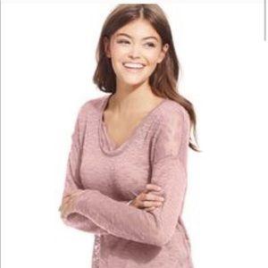 JESSICA SIMPSON Lane Illusion Lace Detail Sweater